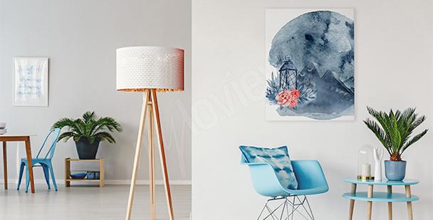 Image pour salon abstrait lunaire