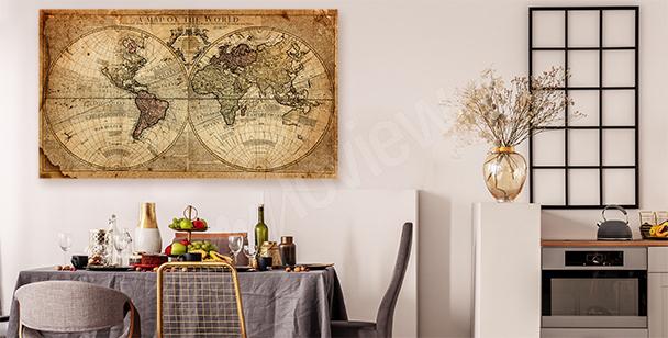 Image retro carte du monde
