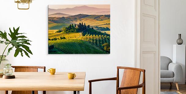 Image Toscane et coucher de soleil
