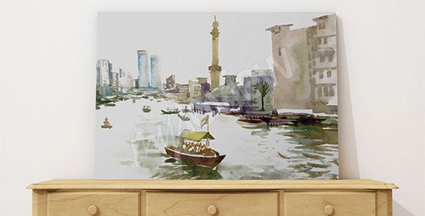 Image ville peinte à l'aquarelle
