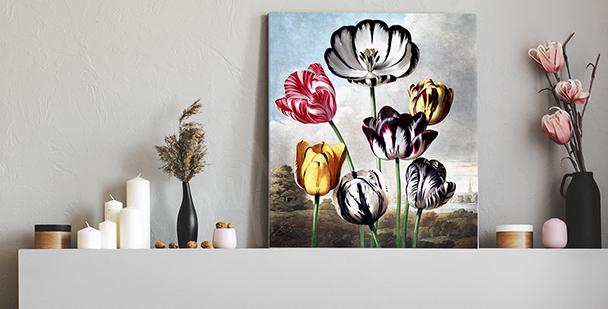 Image vintage avec des tulipes