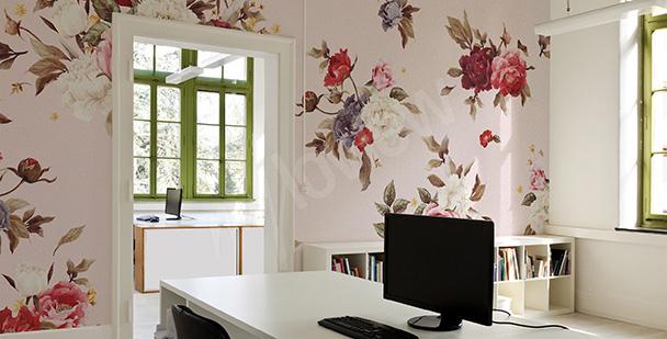 Papier peint à fleurs dans un style rustique