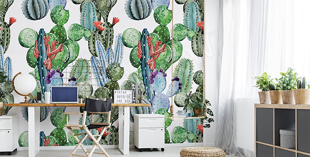 Papier peint ado cactus