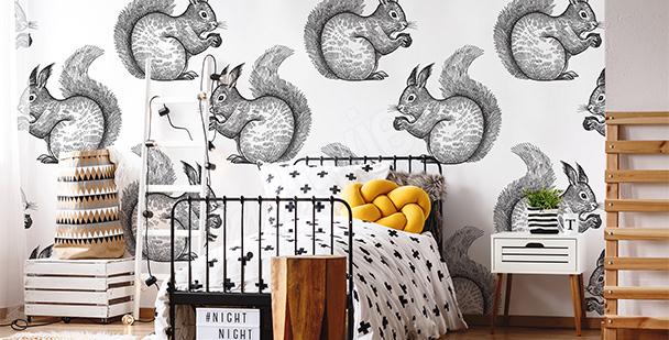 Papier peint ado écureuils