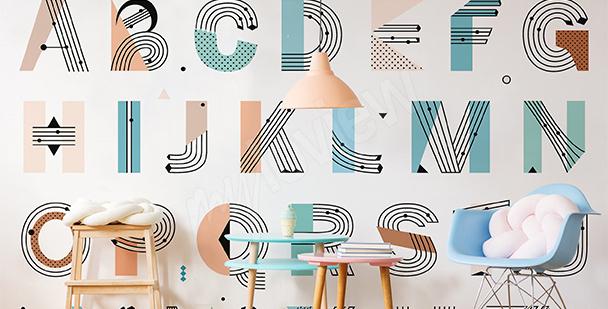 Papier peint alphabet au pastel