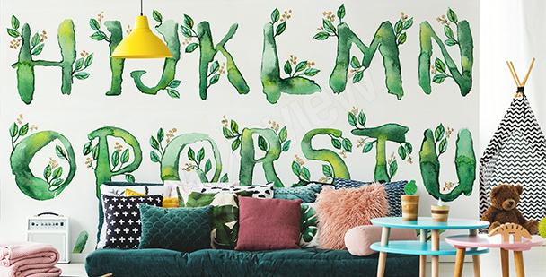 Papier peint alphabet avec des feuilles