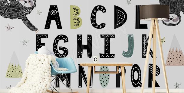 Papier peint alphabet et paresseux