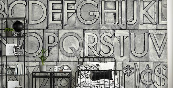 Papier peint alphabet gris