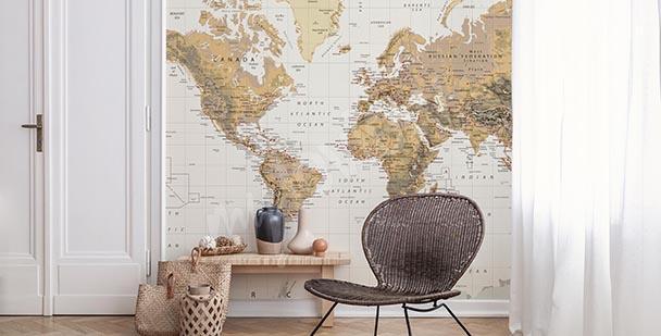 Papier peint carte rétro: continents