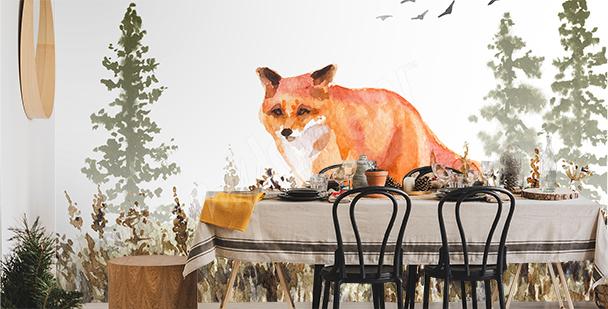 Papier peint animal peint à l'aquarelle