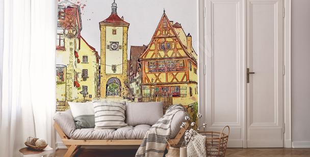 Papier peint aquarelle avec des bâtiments