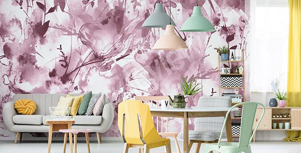 Papier peint aquarelle rose