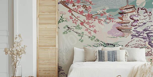 Papier peint Asie et fleurs de cerisier