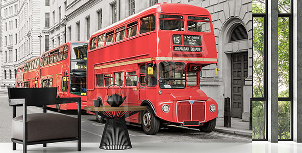 Papier peint autobus rouge
