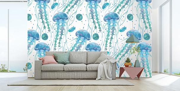 Papier peint avec des méduses