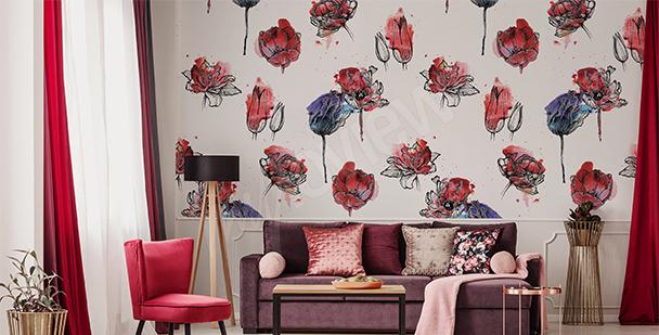Papier peint avec des tulipes