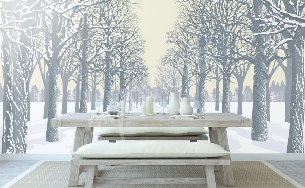 papier peint avec l'allée des arbres en hiver