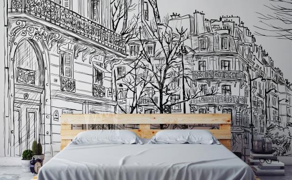 papier peint avec ville en noir et blanc