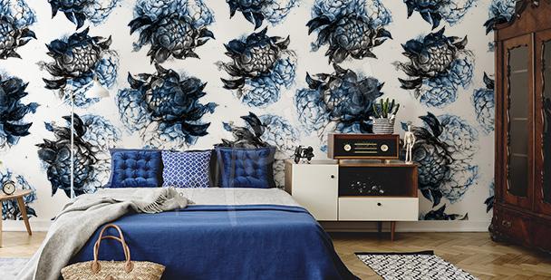 Papier peint bleu fleurs