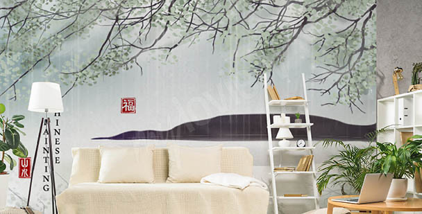 Papier peint botanique Asie