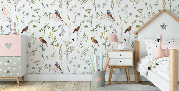 Papier peint botanique oiseaux