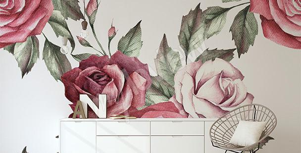 Papier peint roses motif chambre à coucher