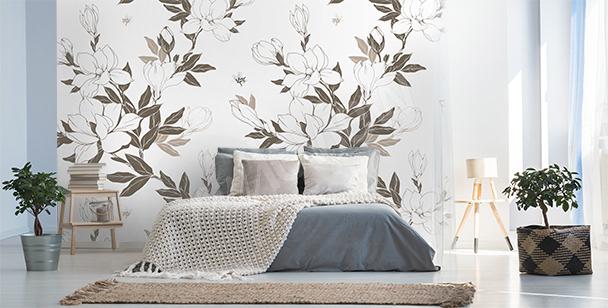 Papier peint pétales de magnolia