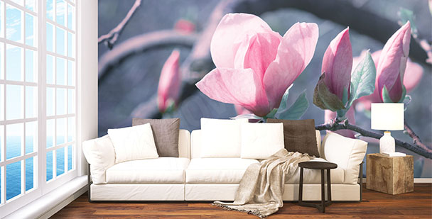 Papier peint branche de magnolia