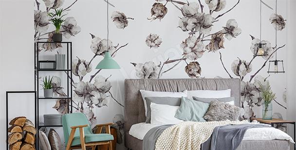 Papier peint branches de coton