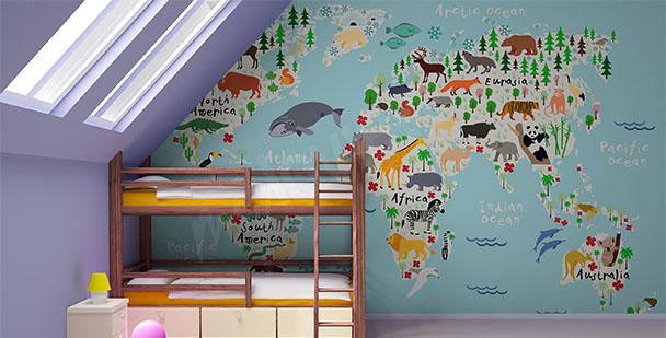 Papier peint carte avec animaux