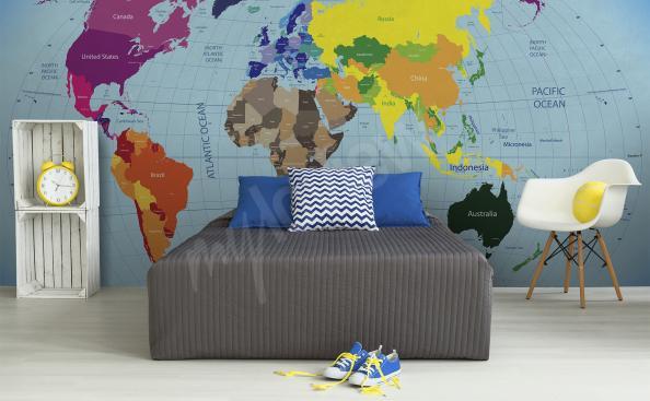 Papier peint carte du monde continents