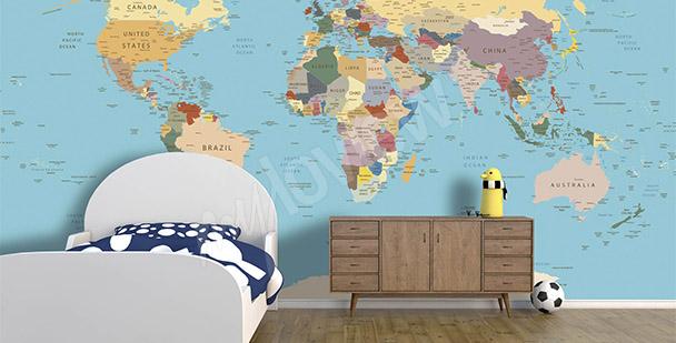 papiers peints carte du monde mur aux dimensions. Black Bedroom Furniture Sets. Home Design Ideas