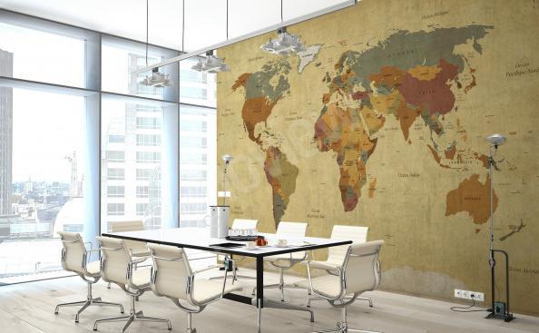 Papier peint carte du monde pour bureau