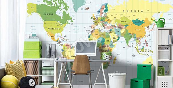 Papier peint carte du monde – vert