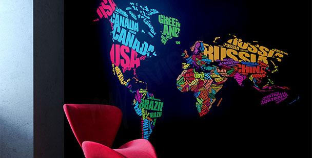 Papier peint carte et continents