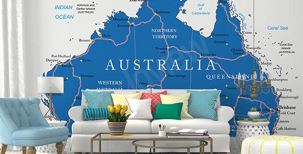 Papier peint carte politique Australie