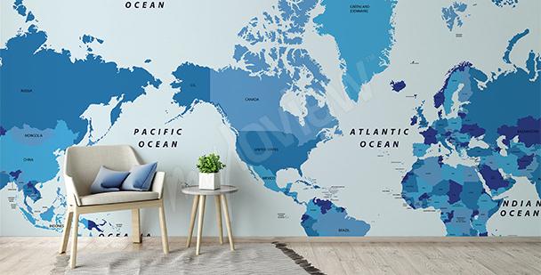 Papier peint carte politique continents