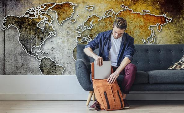 Papier peint carte rétro continents