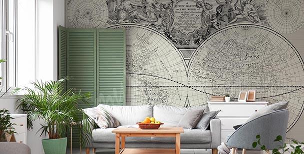 Papier peint carte rétro en gris