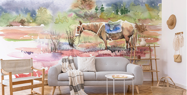 Papier peint cheval version aquarelle