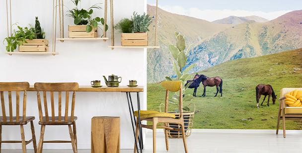 Papier peint chevaux et montagnes