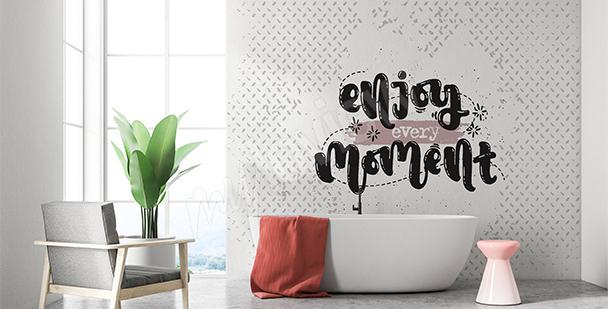 Papier peint citation salle de bains