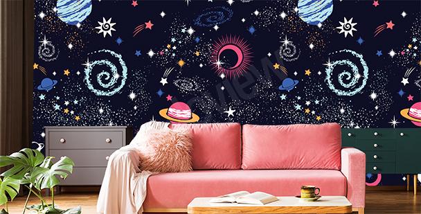 Papier peint constellations cosmiques