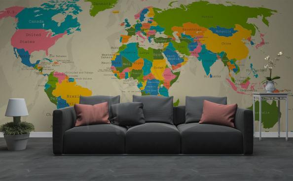 Papier peint continents avec carte du monde