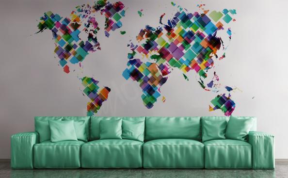 Papier peint continents pour salon
