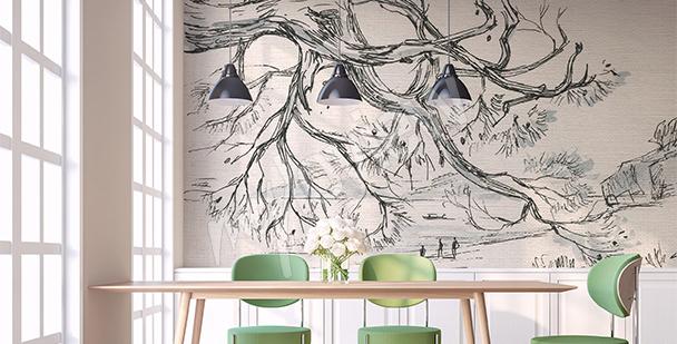 Papier peint croquis d'un arbre