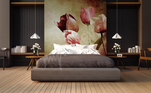 papier peint tulipes vintage