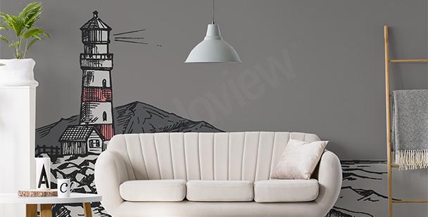 Papier peint dessin de phare maritime