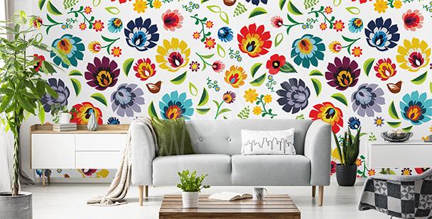 Papier peint en couleur de style folklorique