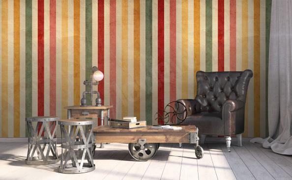 papier peint en rayures colorées rétro